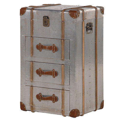 The Cairo Metal & Leather Trunk Chest of Drawers