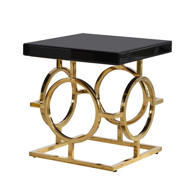 The Mackintosh Gold & Black Glass Side Table