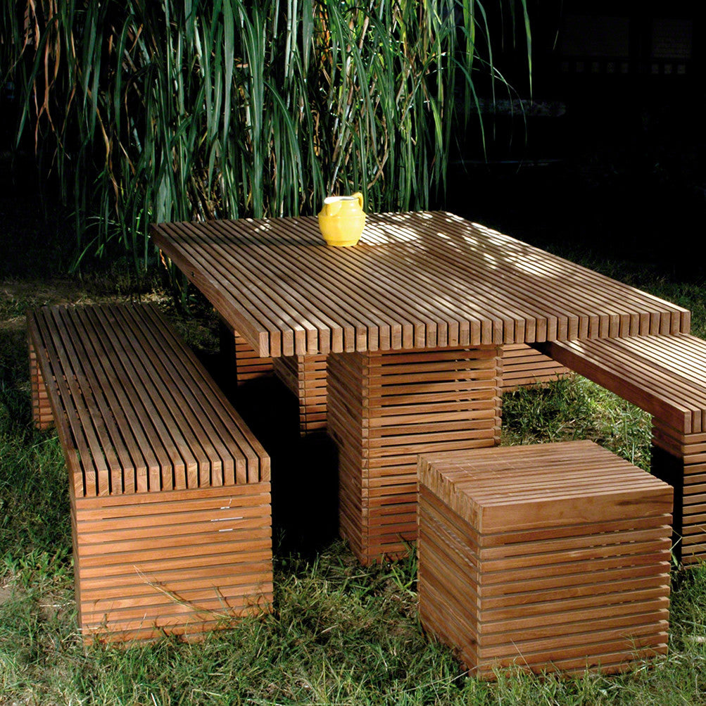 The Metro Teak Slatted Rectangular Outdoor Table