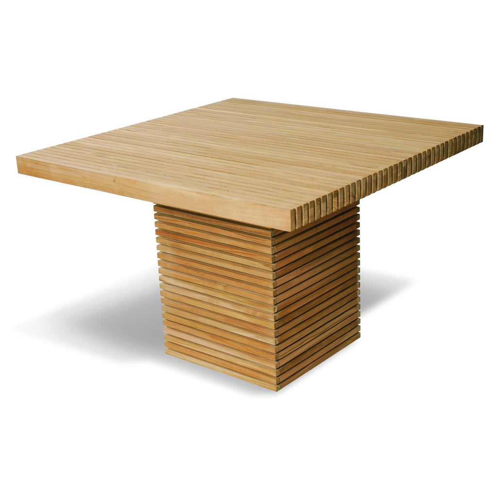 The Metro Teak Slatted Square Outdoor Table