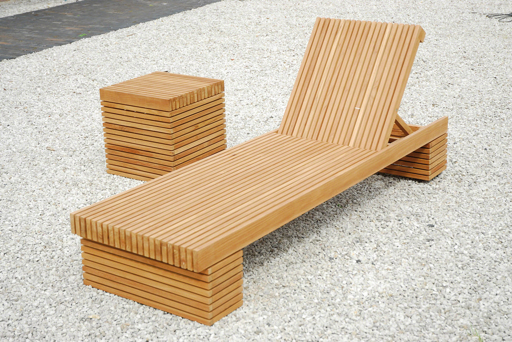 The Metro Teak Slatted Sun Lounger