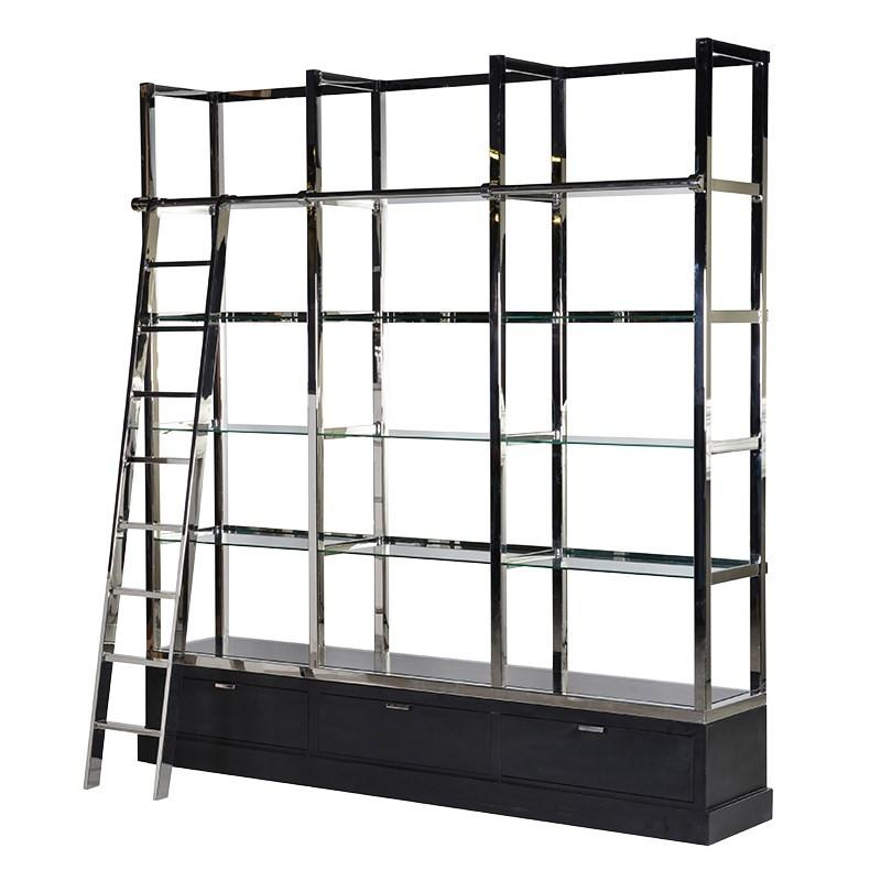 The Sanctum Black & Chrome Library Shelves Unit