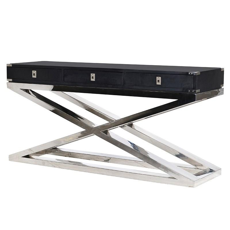 The Sanctum Black Wide Criss Cross Console Table
