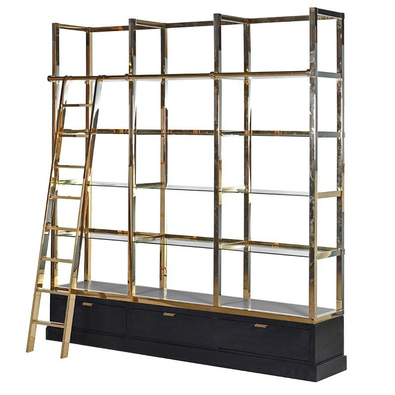 The Sanctum Black & Gold Library Shelves Unit