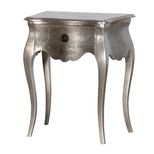 Champs Elysees Plain Silver Leaf Bedside