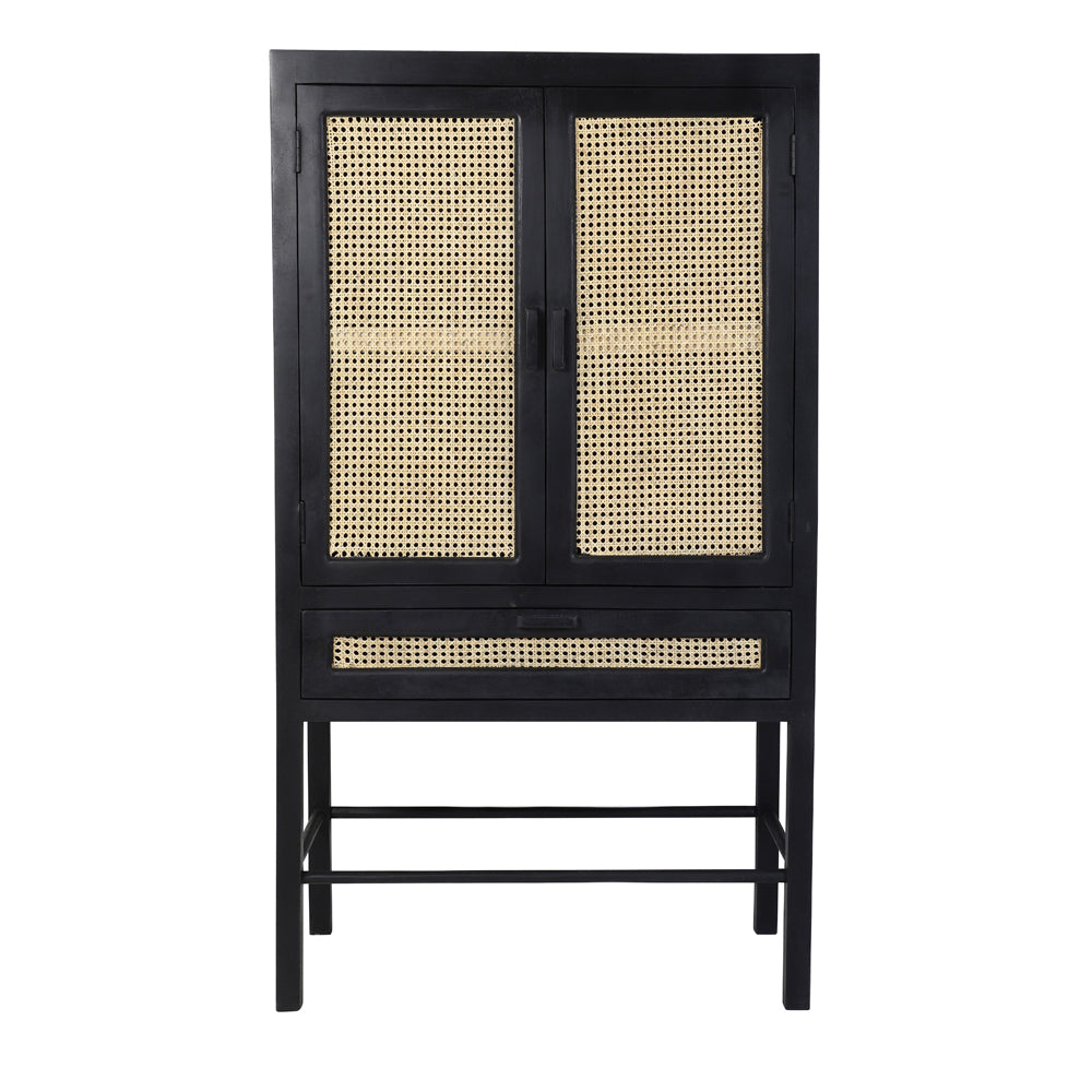 Toranelli Cabinet with Black Wood and Natural Webbing