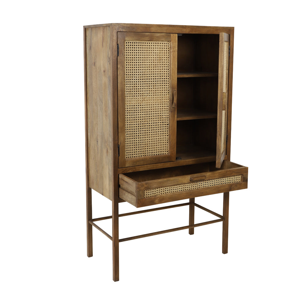 Toranelli Cabinet with Brown Wood and Natural Webbing
