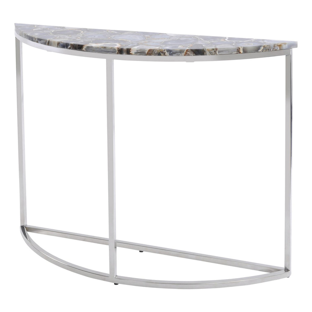 Vasquo Agate & Nickel Half-Moon Console Table