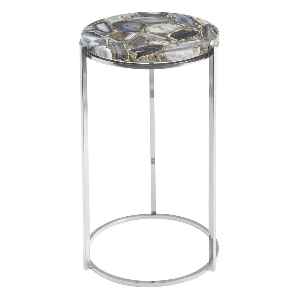 Vasquo Agate & Nickel Frame Side Table