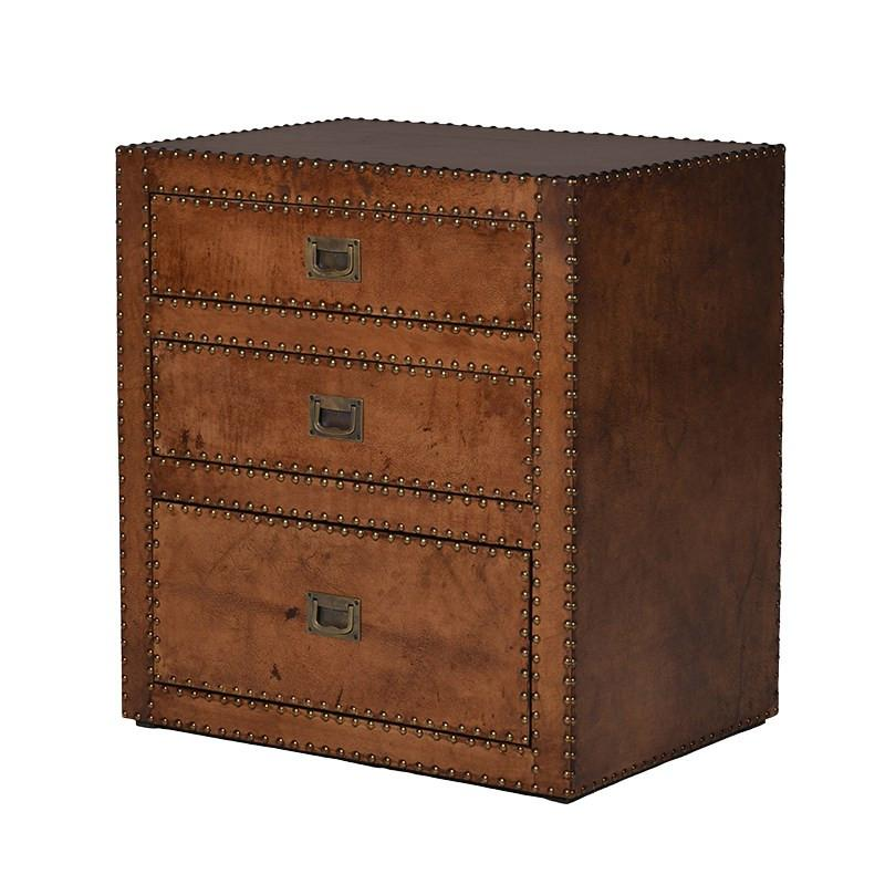 Vintage Flemming Brown Leather and Studded Bedside Table
