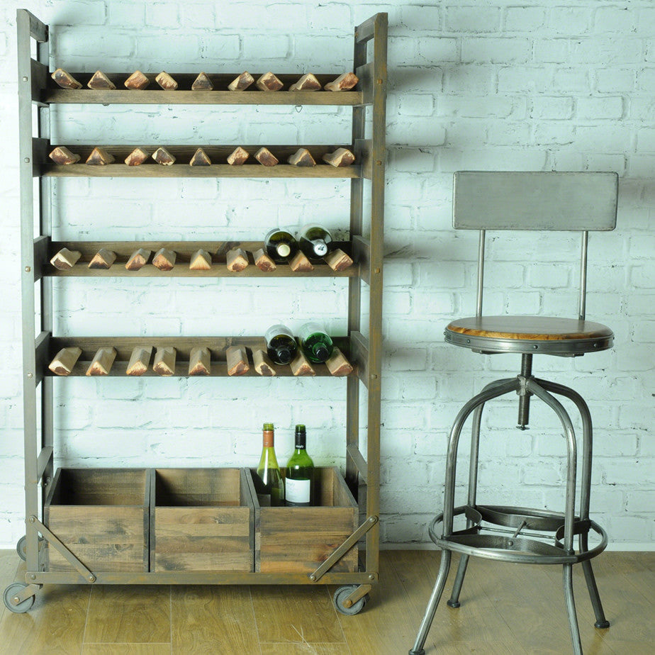 Vintage Industrial Wine and Storage Rack