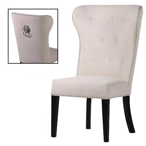 White Button Back Dining Chair with Lion Ring