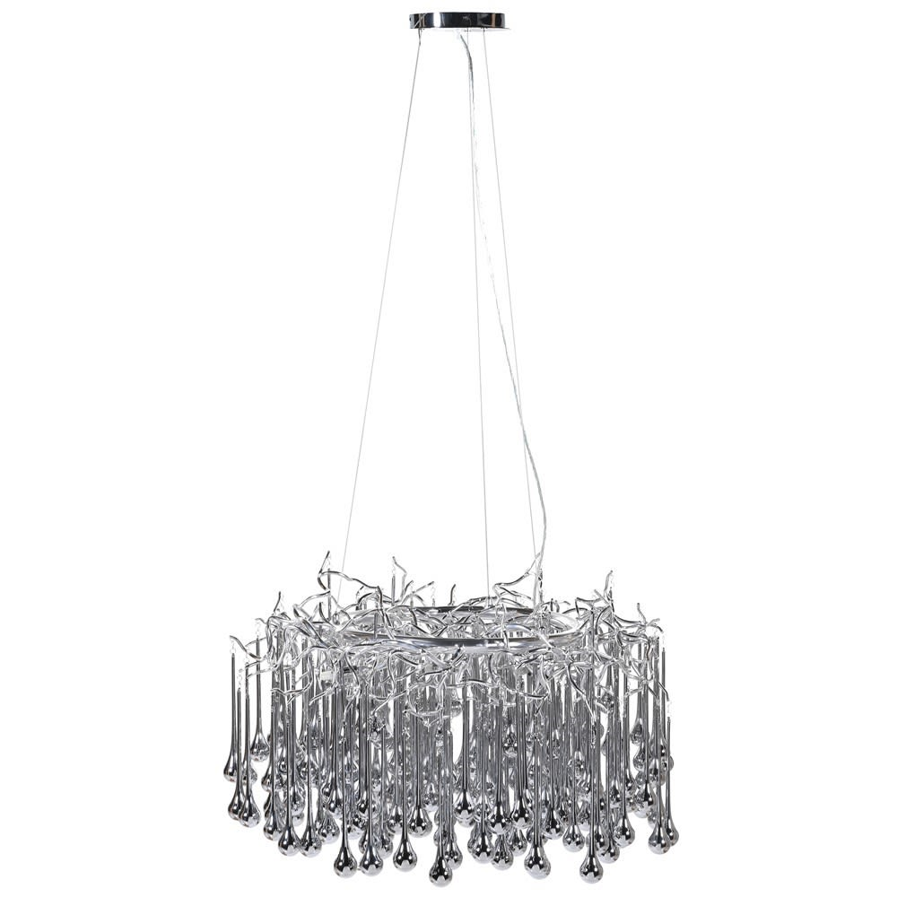 Wisdom Glass Droplet Chandelier in Silver
