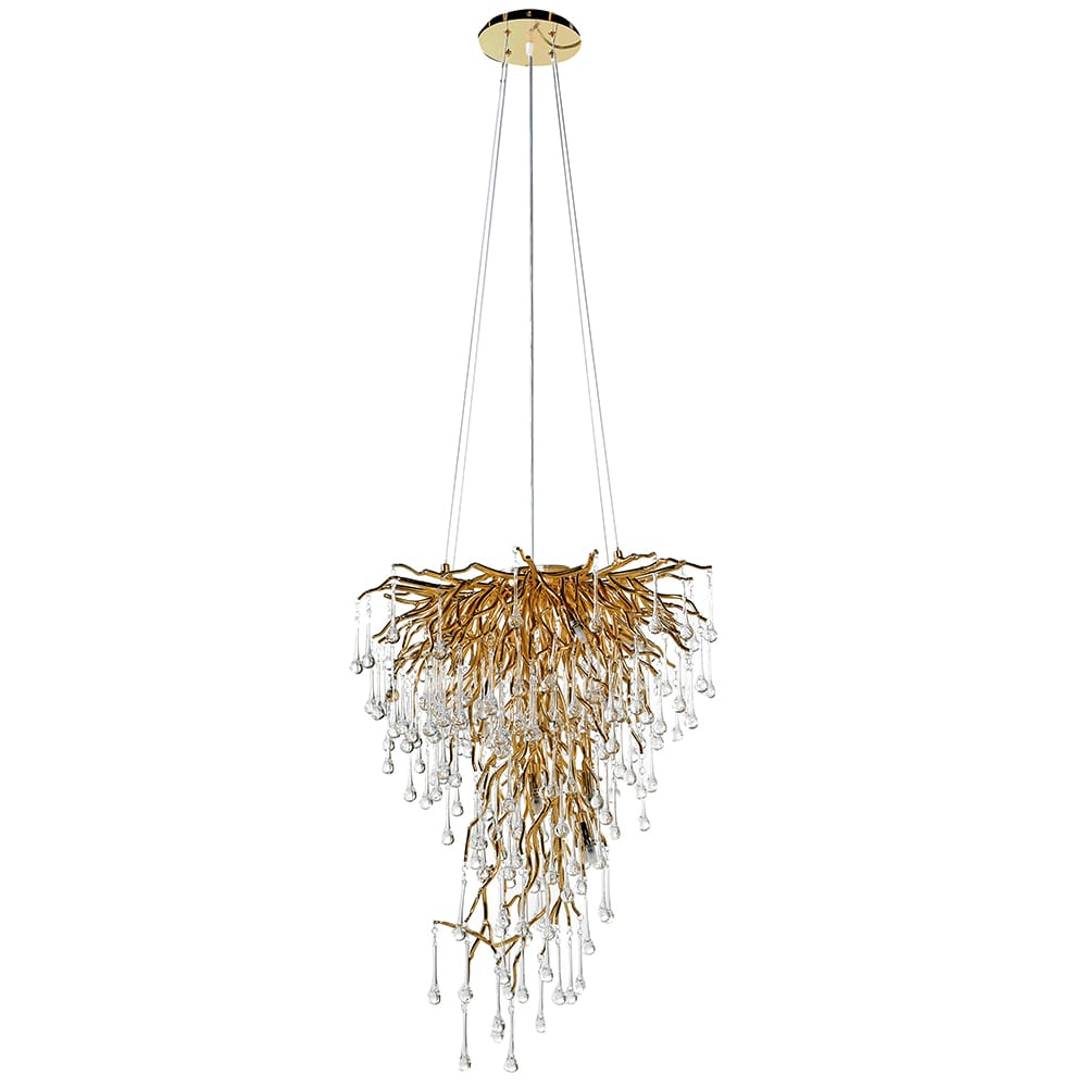 Large Wisdom Glass Droplet Chandelier in Antique Gold