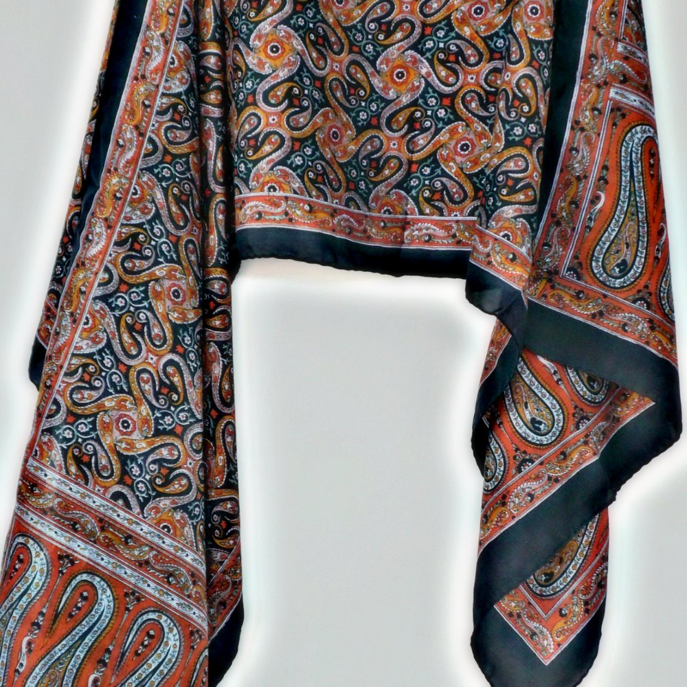 Paisley Go Round Printed Long Silk Scarf
