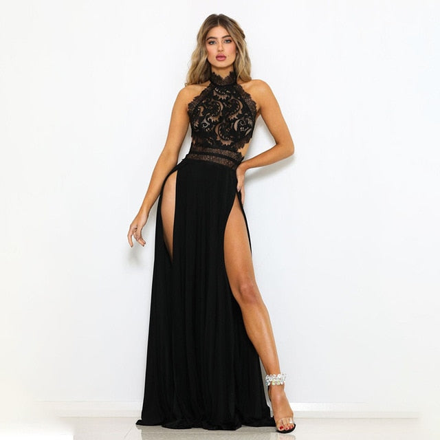 Lace Maxi Dress Halter Backless