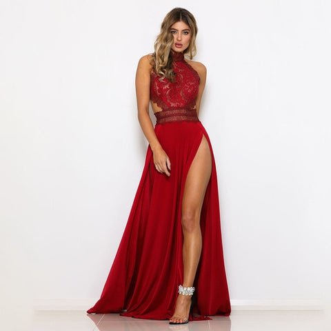 Image of Lace Maxi Dress Halter Backless