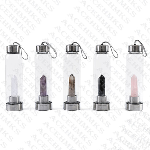 Crystal Stones Infuser Glass Water Bottle