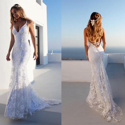 Image of Backless Sleeveless White Dresses