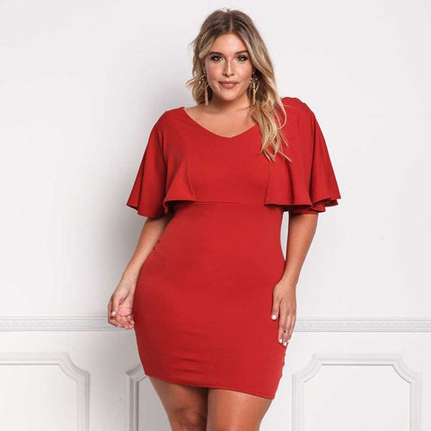 Image of plus size ruffles Dresses Short Sleeve Casual