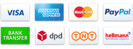 Payment methods are PayPal Creditcard and Bank Wire Transfer. Shipping methods are DPD, Hellmann International.
