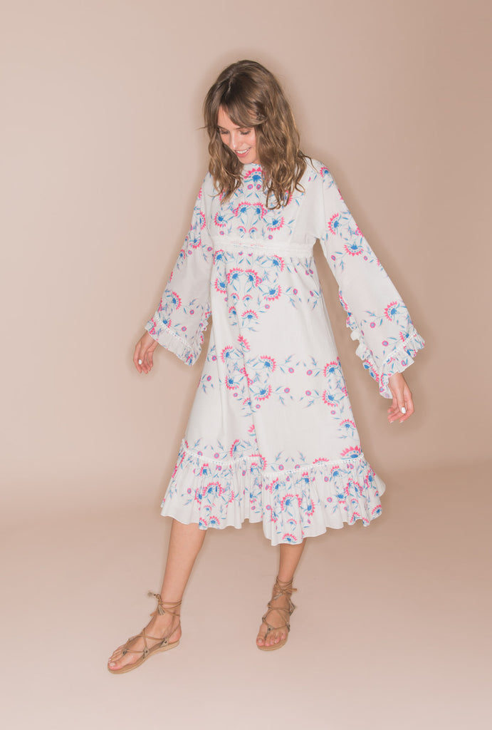 Flower Child Hippy Cotton Dress