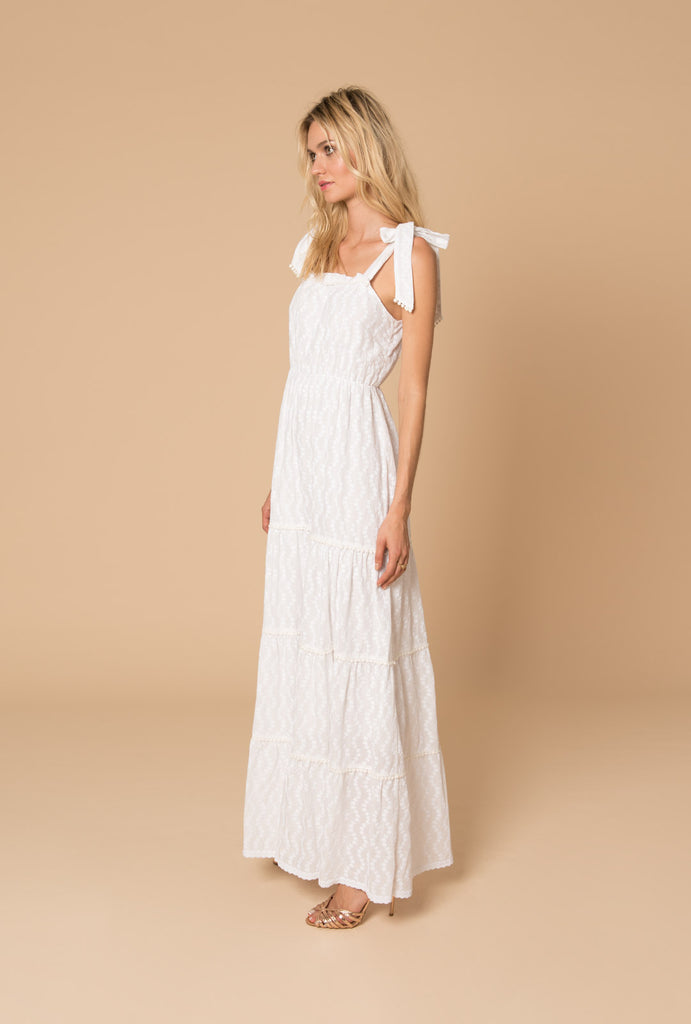 Porcelain Tiered Dress Thick Straps