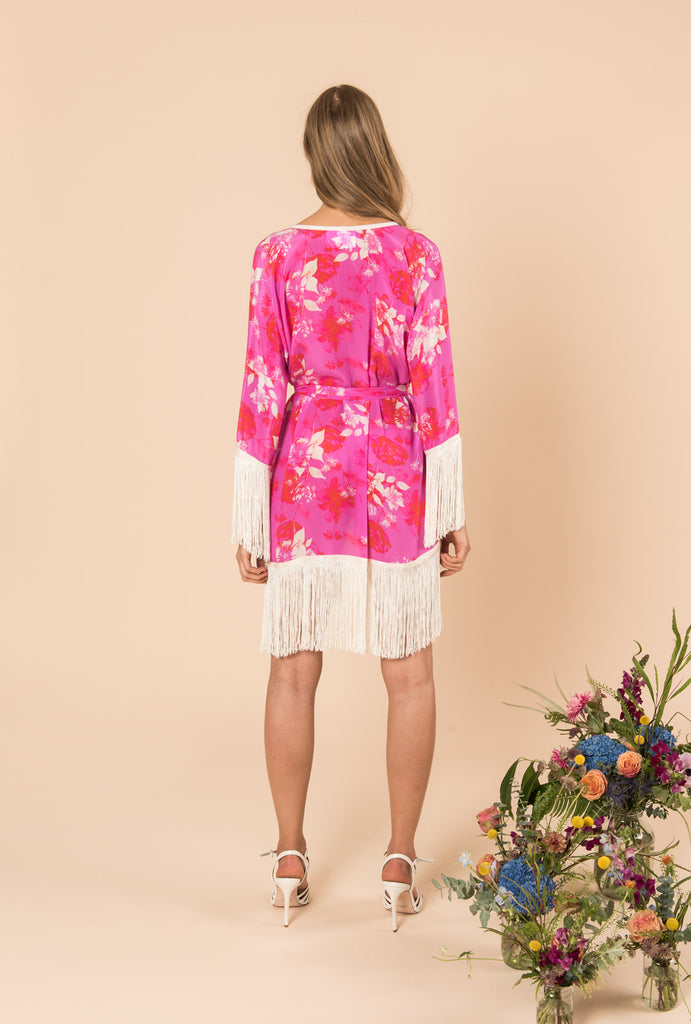 Melrose Sunset Short Kimono With Fringes