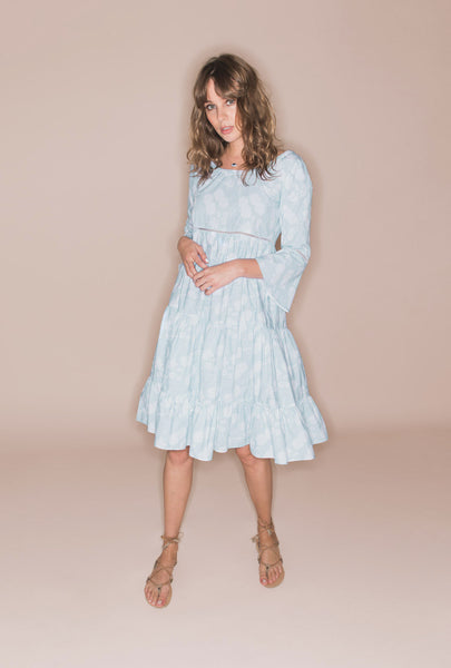 A Bohemian Romance Blue Frill Dress