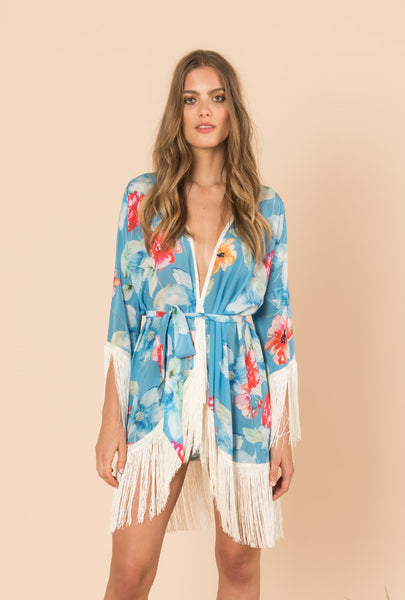 In Bloom Short Kimono With Fringes
