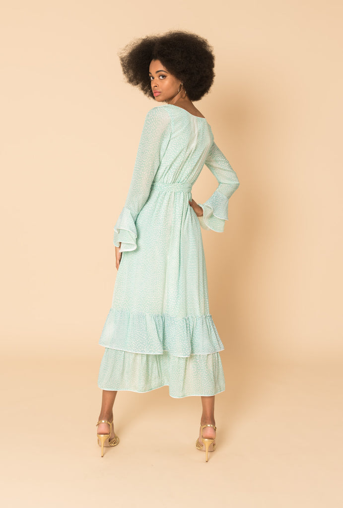 Azure Frilly Button Dress