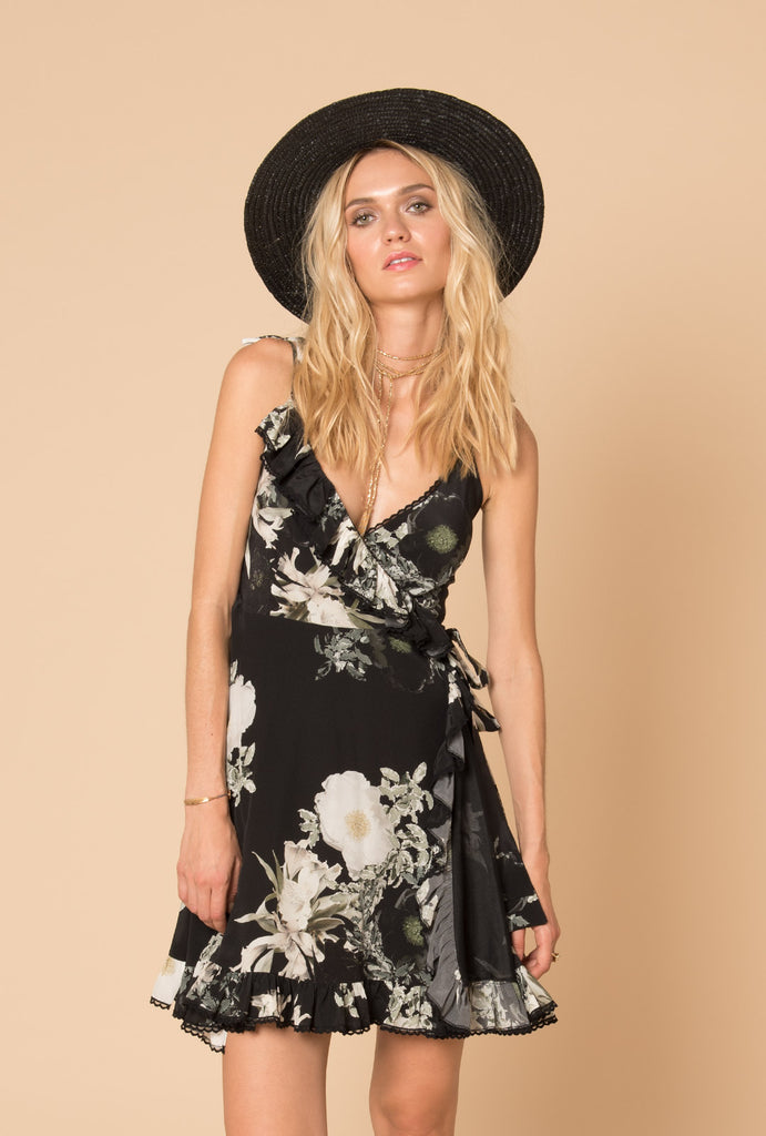 In the Still of the Night Short Wrap Dress
