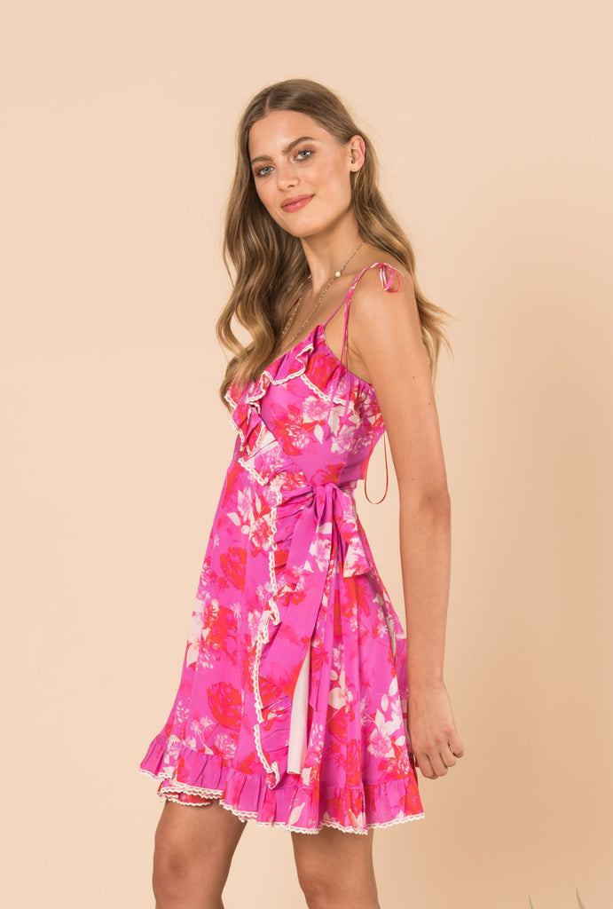 Melrose Sunset Short Strap Wrap Dress