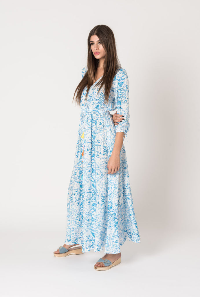 Rainbow In The Sky Button Dress Blue