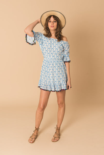 Cotton Breeze Short Pompom Dress