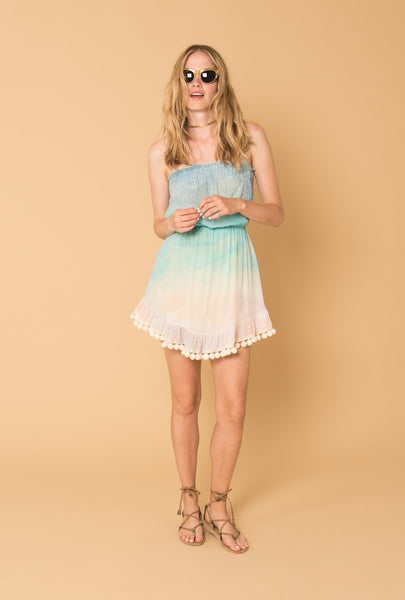 Love at Dawn Strapless Pompom Dress