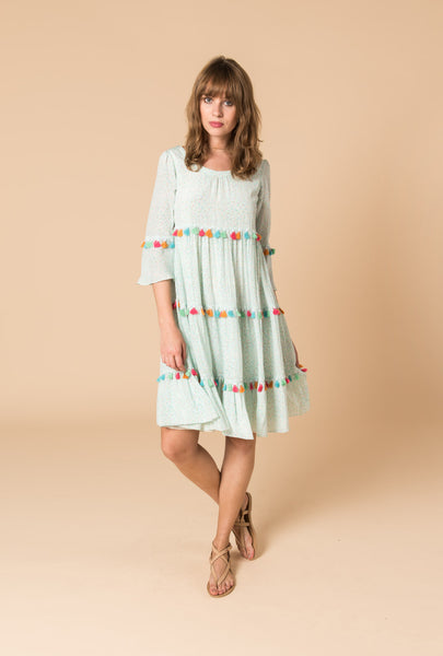 Spring Rainbow Tassel Tiered Dress
