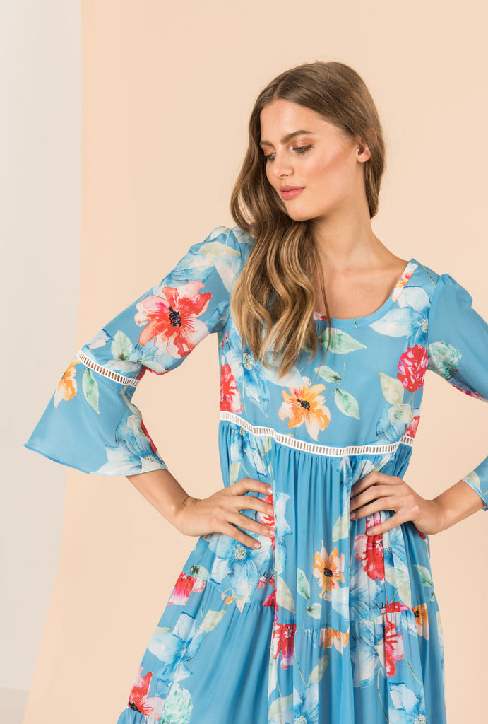 In Bloom Frill Dress With Bell Sleeves