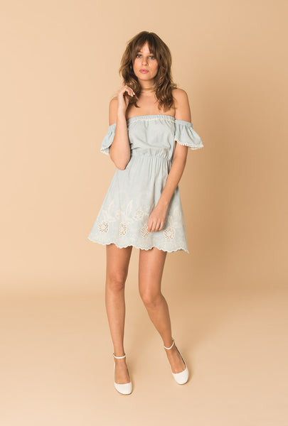 Gypset Blue Short Off Shoulder Dress