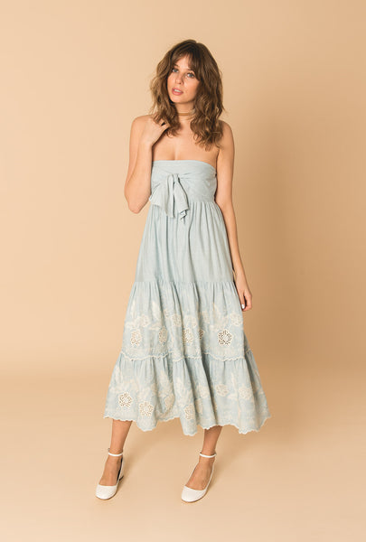 Gypset Blue Strapless Bow Dress