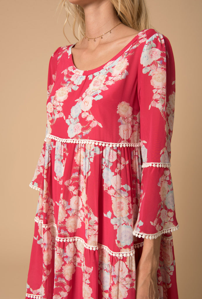 Heartbeats Tiered Dress Bell Sleeves
