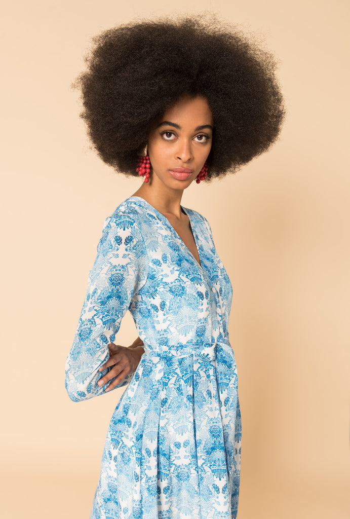 Kalua Blue Button Dress Long Sleeves