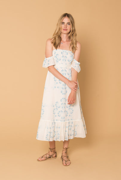 Morning Mist Off Shoulder Hippie Dress