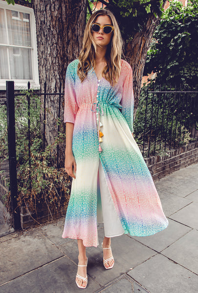 Rainbow Button Dress