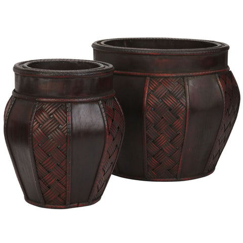 Wood and Weave Panel Decorative Planters (Set of 2)
