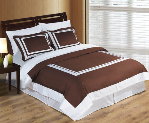 King/Calking Chocolate/White 100% Combed cotton Hotel Duvet cover set