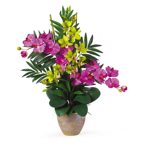 Orchid/Green Double Phal/Dendrobium Silk Orchid Arrangement