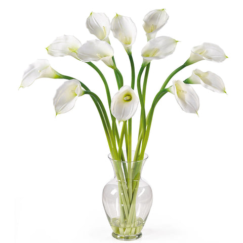 Cream Calla Lily Liquid Illusion Silk Arrangement