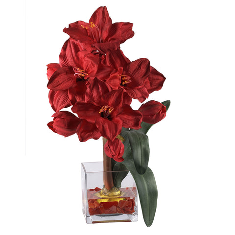 Red Amaryllis Liquid Illusion Silk Flower Arrangement
