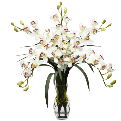White Cymbidium Orchid Silk Flower Arrangement